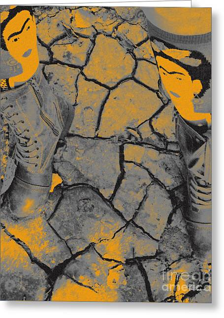 Cracked Earth With Frieda Khalo. Greeting Card