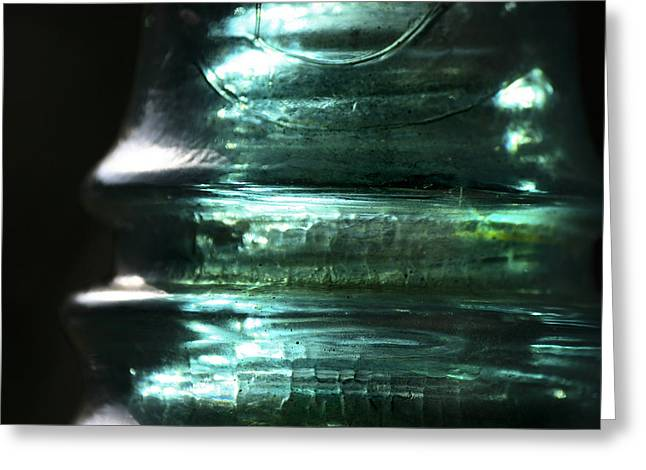 Green Glass Greeting Cards - Cracked Glass Greeting Card by Sari Sauls
