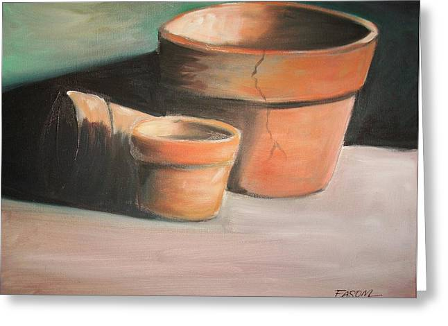 Cracked Pots Greeting Card by Scott Easom