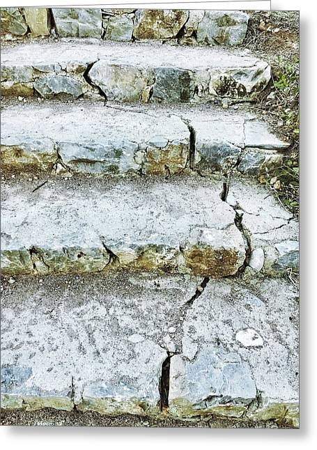 Cracked Stone Steps Greeting Card by Tom Gowanlock
