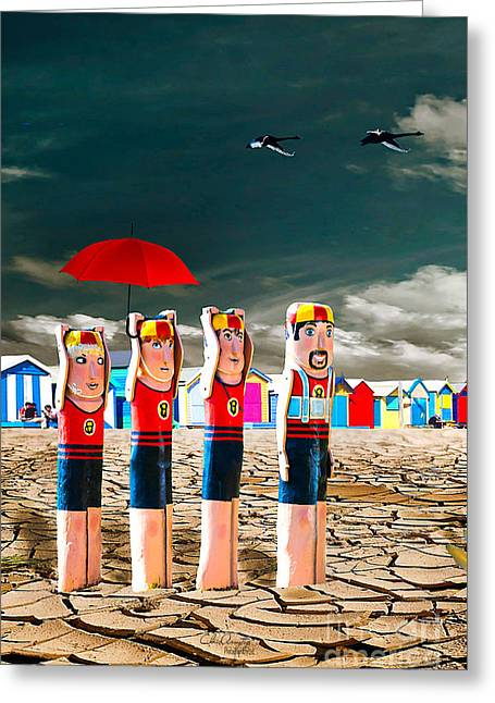 Greeting Card featuring the photograph Cracked V - The Life Guards by Chris Armytage