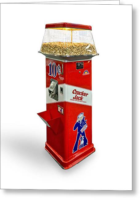 Cracker Jack Vending Machine Knockout On A White Background Greeting Card