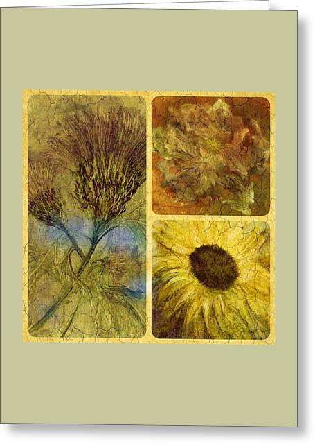 Crackled Floral Greeting Card by Carol Rowland