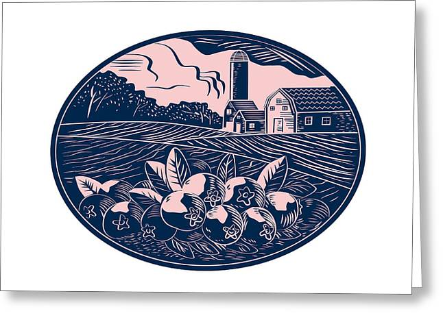 Cranberry Fruit Farm Oval Woodcut Greeting Card by Aloysius Patrimonio