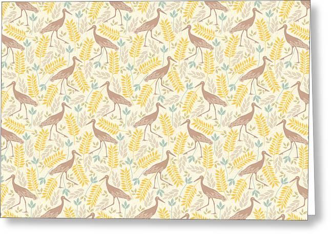 Crane And Foliage Pattern Greeting Card