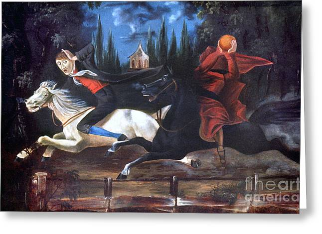 Crane And Horseman Greeting Card