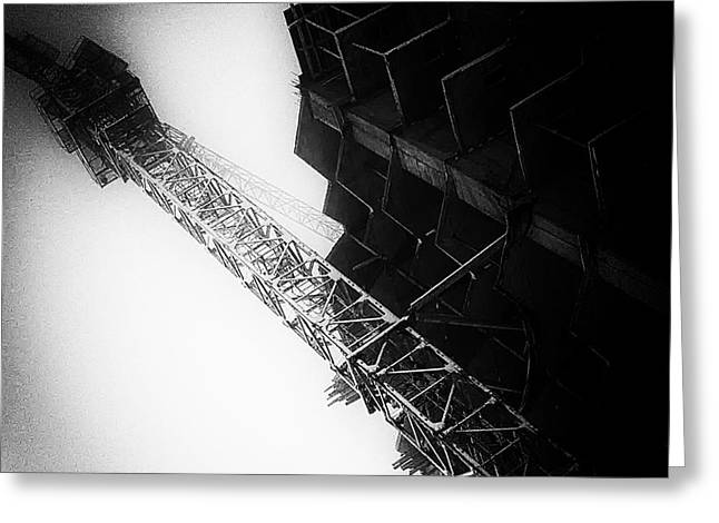 Crane And New Building Black And White Abstract Greeting Card by John Williams