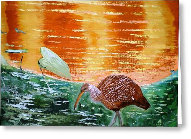Crane Hunting Minnows Greeting Card by Francis Roberts ll
