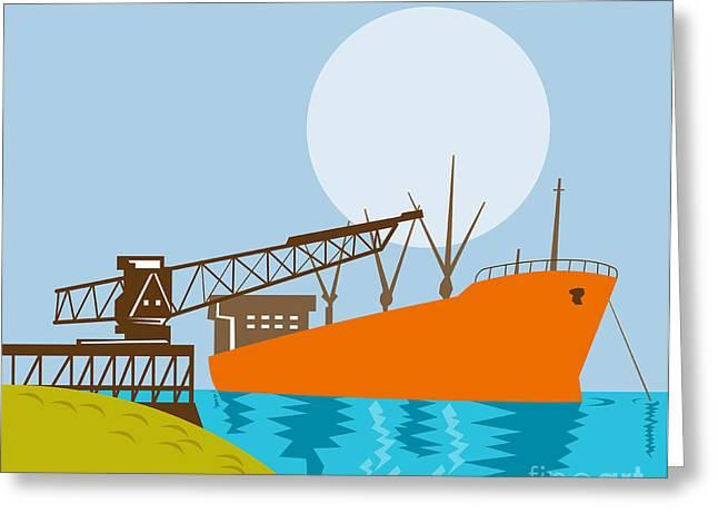 Crane Loading A Ship Greeting Card by Aloysius Patrimonio
