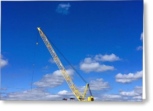 Crane On Road Construction Site Greeting Card