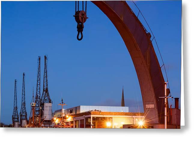 Cranes, Bristol Harbour Greeting Card