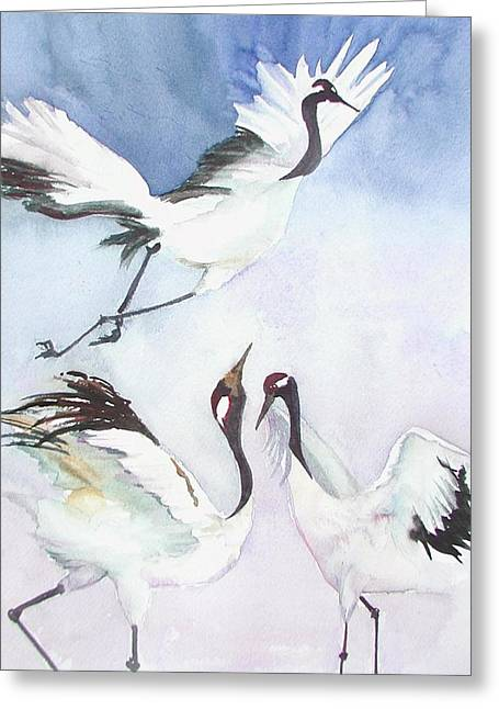 Cranes Dance Greeting Card by Marcy Silverstein