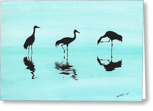 Cranes Greeting Card by Edwin Alverio