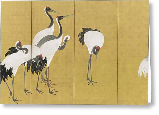 Cranes Greeting Card by Maruyama Okyo