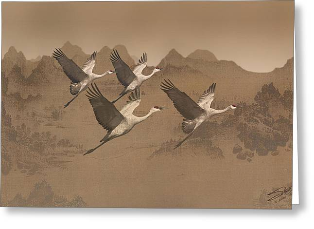 Cranes Migrating Over Mongolia Greeting Card