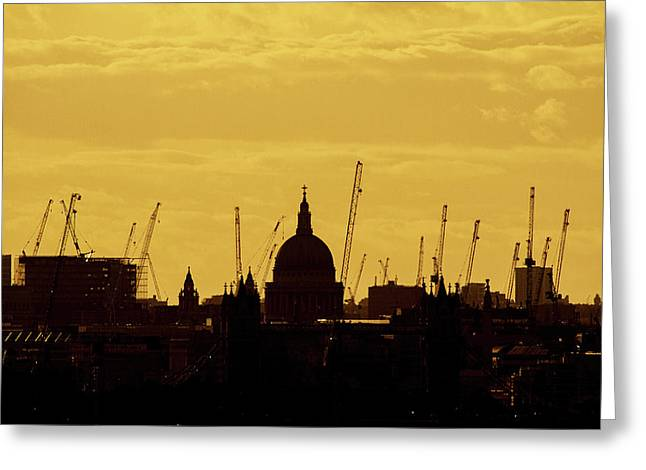 Cranes Over London Greeting Card by Wayne Molyneux