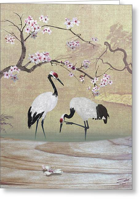 Cranes Under Cherry Tree Greeting Card