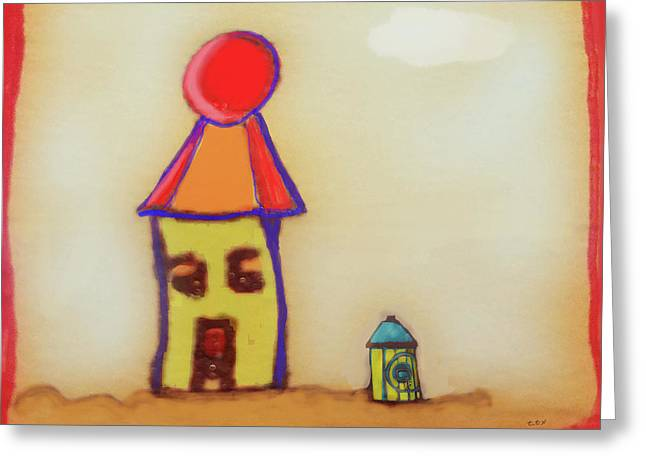 Cranky Clown Cabana And Fire Hydrant Greeting Card