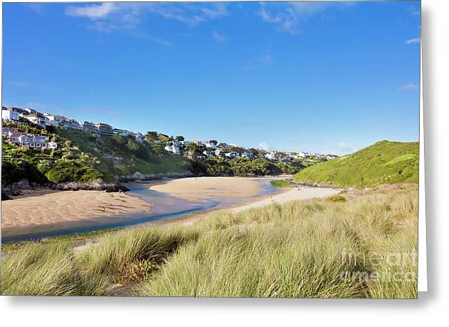 Crantock And The Gannel Greeting Card by Terri Waters