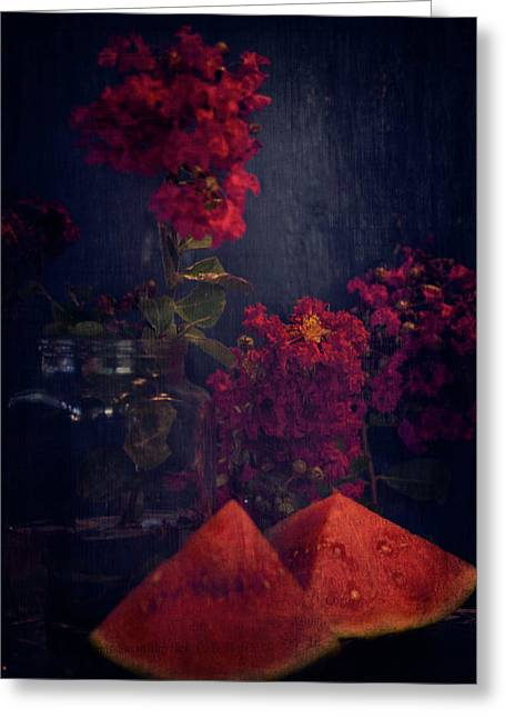 Crapemyrtles And Melons Greeting Card by Toni Hopper