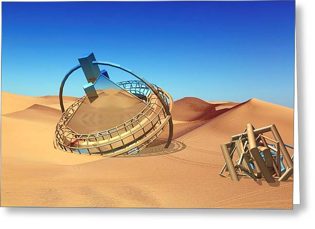 Crash Space Craft In The Desert Greeting Card