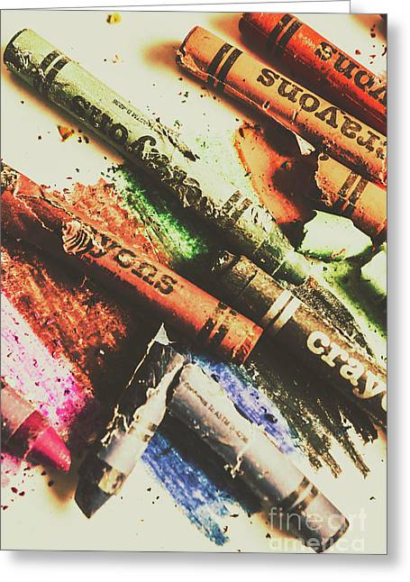 Crash Test Crayons Greeting Card by Jorgo Photography - Wall Art Gallery