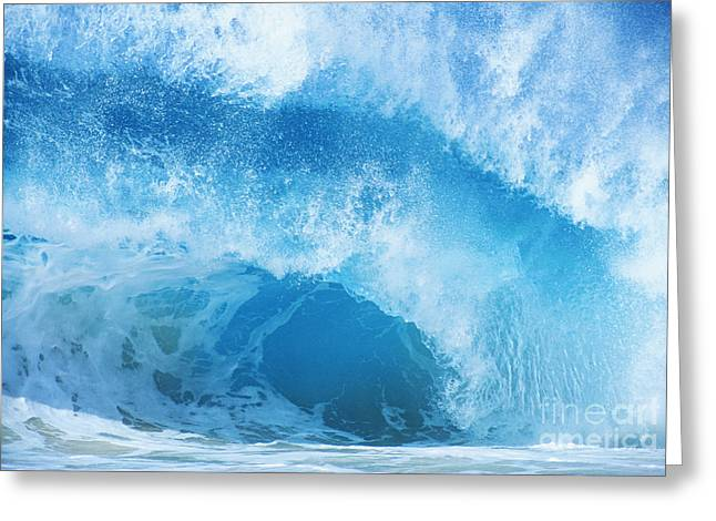 Crashing Blue Wave Greeting Card by Vince Cavataio - Printscapes