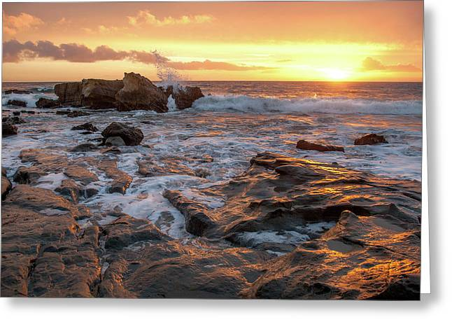 Crashing Surf At Sunset Greeting Card