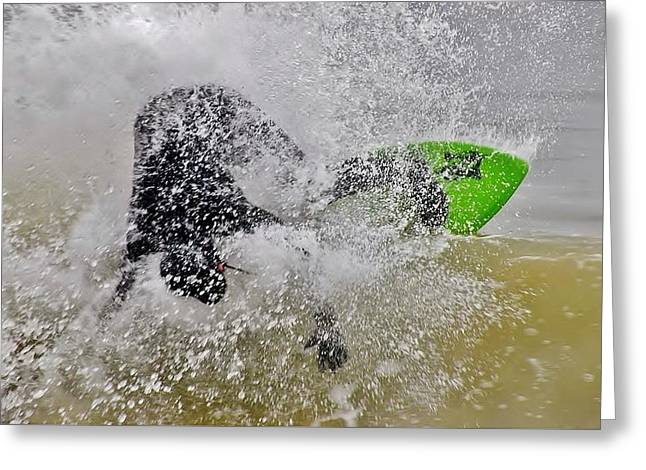 Crashing The Surf - Skimboarding At The Indian River Inlet Greeting Card