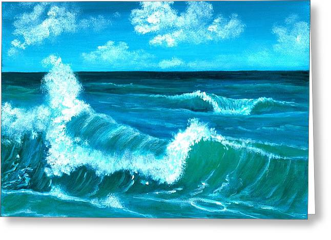 Greeting Card featuring the painting Crashing Wave by Anastasiya Malakhova
