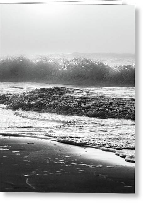 Greeting Card featuring the photograph Crashing Wave At Beach Black And White  by John McGraw