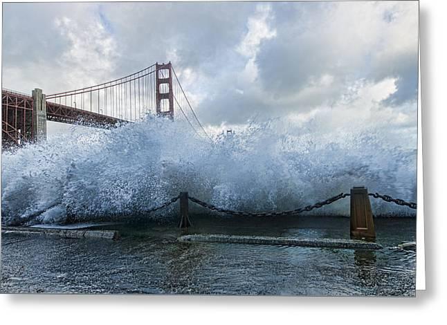 Greeting Card featuring the photograph Crashing Wave Golden Gate Bridge King Tide by Steve Siri
