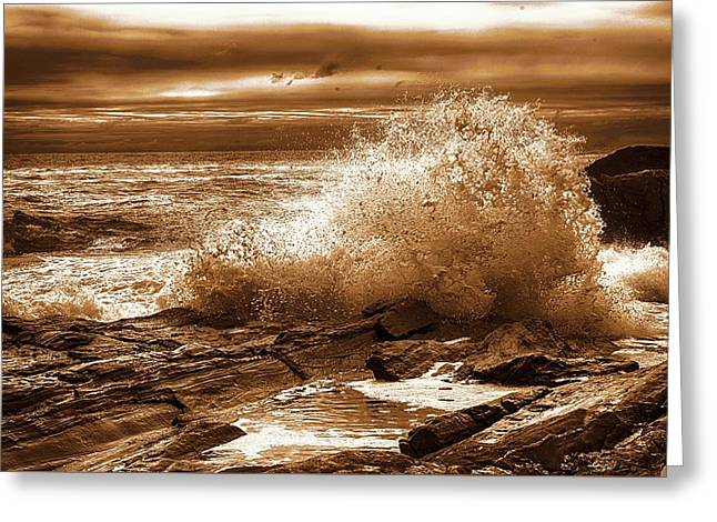 Crashing Wave Hdr Golden Glow Greeting Card by Sherman Perry