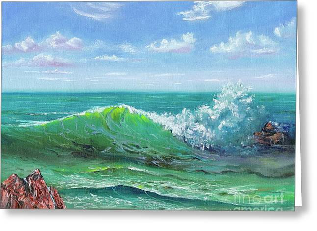 Greeting Card featuring the painting Crashing Wave by Mary Scott