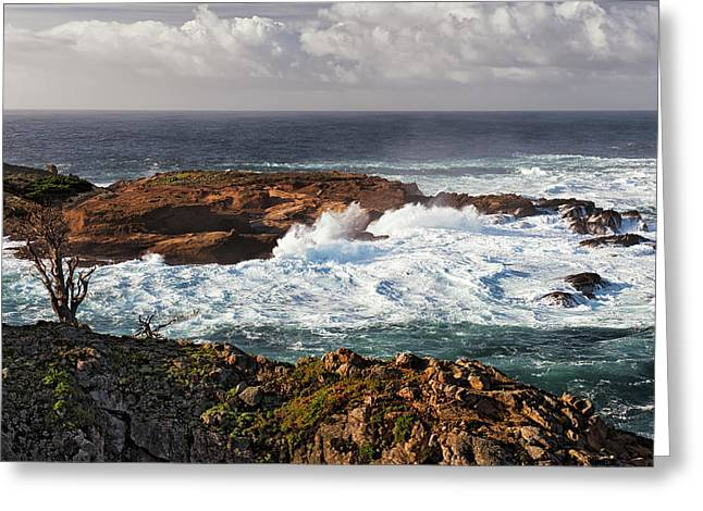 Crashing Waves And High Surf At Point Lobos. Greeting Card by Larry Geddis