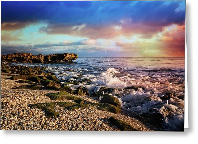 Greeting Card featuring the photograph Crashing Waves At Low Tide by Debra and Dave Vanderlaan