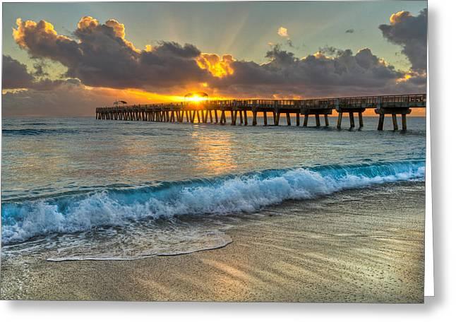 Crashing Waves At Sunrise Greeting Card by Debra and Dave Vanderlaan