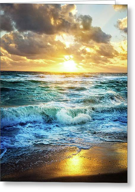 Greeting Card featuring the photograph Crashing Waves Into Shore by Debra and Dave Vanderlaan