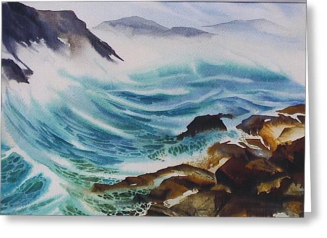 Crashing-waves Greeting Card by Nancy Newman