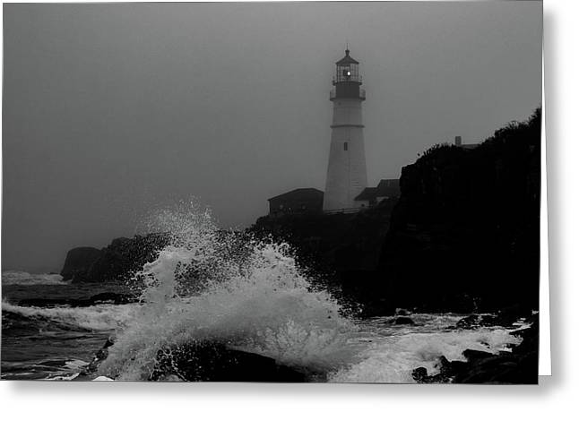 Greeting Card featuring the photograph Crashing Waves On A Foggy Morning by Darryl Hendricks