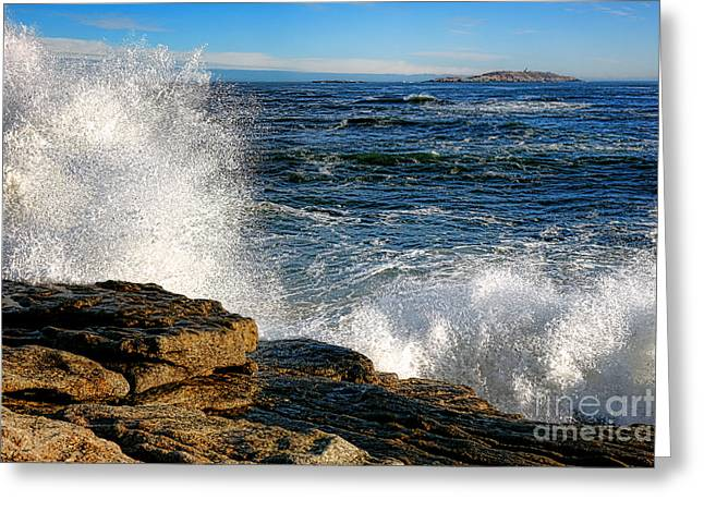 Crashing Waves On Fox Island Greeting Card by Olivier Le Queinec