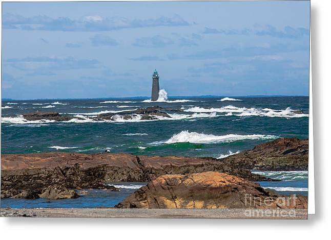 Crashing Waves On Minot Lighthouse  Greeting Card by Brian MacLean