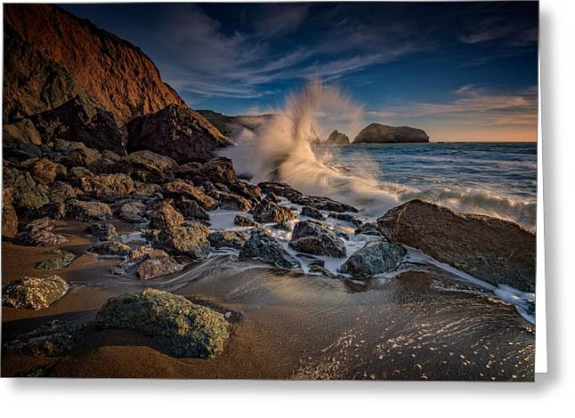 Crashing Waves On Rodeo Beach Greeting Card by Rick Berk