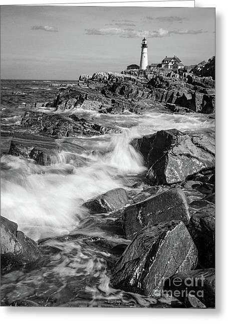 Crashing Waves, Portland Head Light, Cape Elizabeth, Maine  -5605 Greeting Card