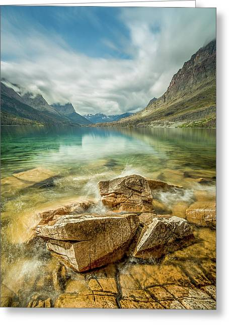 Crashing Waves // Saint Mary Lake, Glacier National Park  Greeting Card