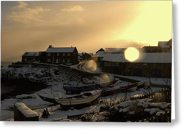 Craster Harbour In Winter 2 Greeting Card