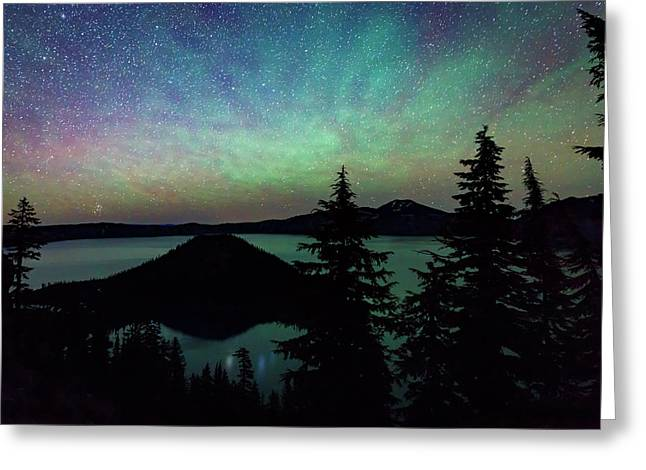 Crater Lake Airglow Greeting Card by Cat Connor