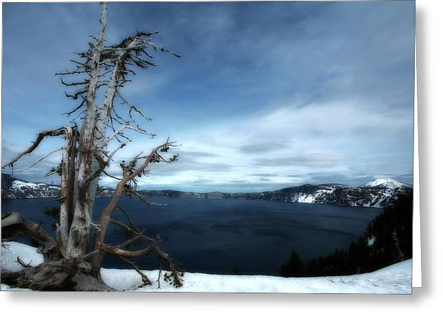 Crater Lake View Greeting Cards - Crater Lake Greeting Card by Bonnie Bruno