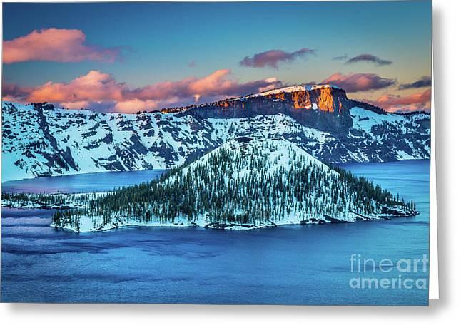 Crater Lake Dusk Greeting Card