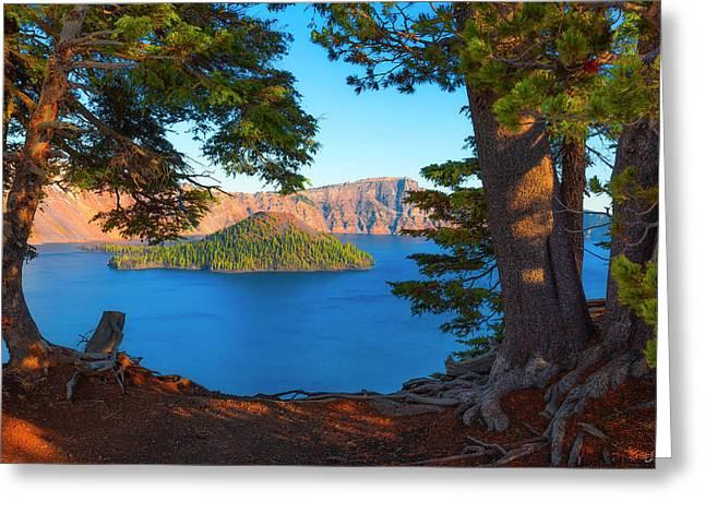 Crater Lake Early Dawn Scenic Views Ix Greeting Card